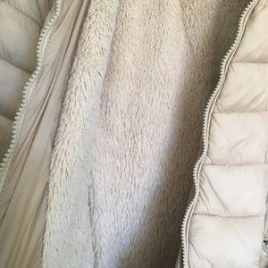 Jackets & Coats - Beige women's synthetic jacket with hood.
